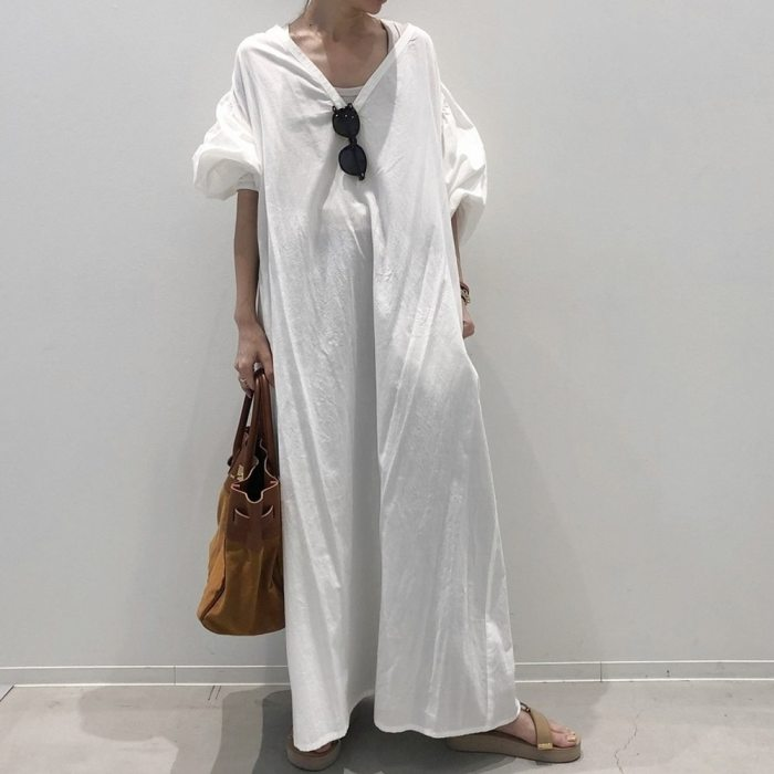 Women Long-sleeved Maxi Dress Fashion A-line Standard Waist Pullover Casual Dress White Summer Plain Loose V Neck Long Dresses