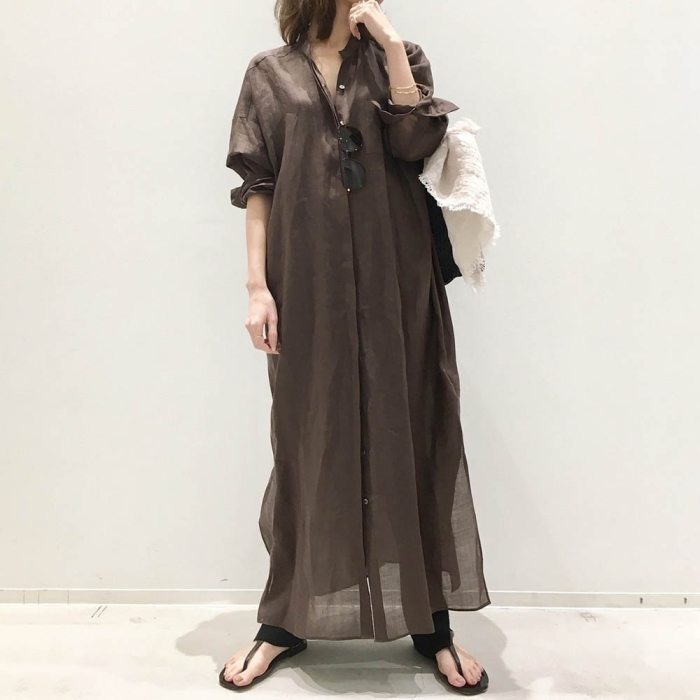 Dress Long Shirt Style Single-breasted Slim Lapel Women Fashion Solid Color All Match Loose Casual Japanese Female 2021 New