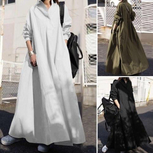 2021 Vintage Long Sleeve Loose Women Dress Casual Black White Sundress Spring Summer Female Long Maxi Party Vestido Robe