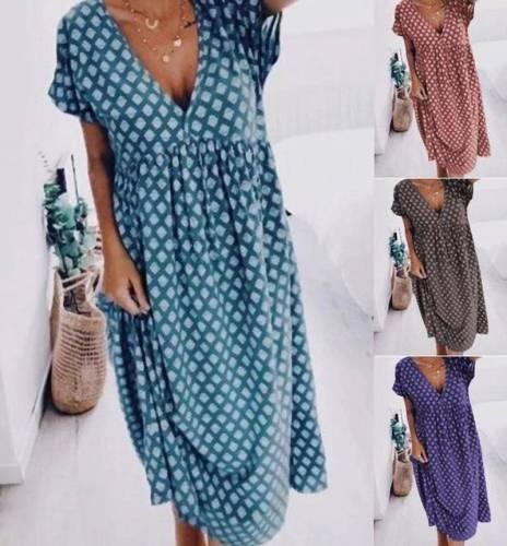 Short Sleeve Cotton-Blend V Neck Dresses