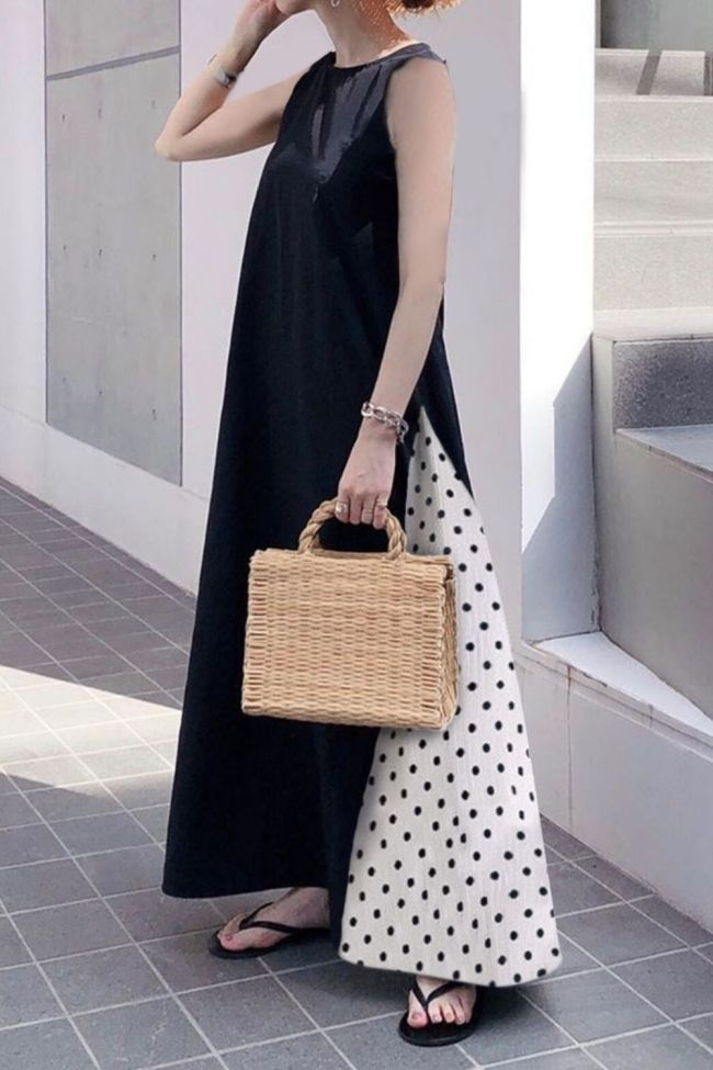 Dress 2021 New Korea Style Sleeveless Loose Polka Dots Pattern Ankle-Length A-Line Single Pullover Long Suit Summer Office Lady