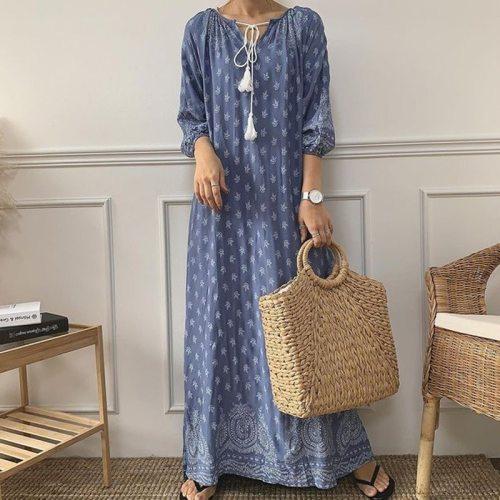 Flower Print Women Dress Fashion Drawstring O-Neck Long Sleeve Female Dresses Loose Casual High Waist Lady Robe Vestido
