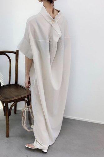 Women Summer Dress Loose Straight  Short Sleeve Oversize Dress Korean Style Fashion Maxi Ankle-Length  Plain Casual Pullover