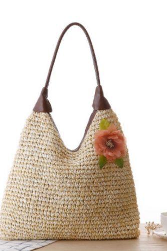 Pastoral Flower Temperament PU Handle One-Shoulder Straw Bag Woven Bag Beach Leisure Bag