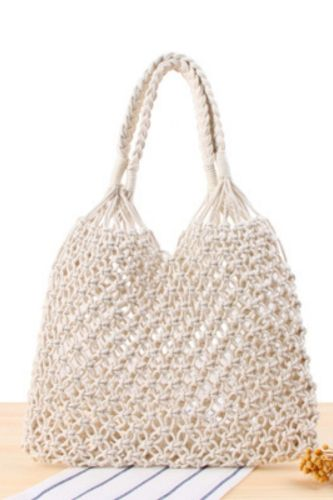 The New Solid Color One-Shoulder Woven Bag Tide Female Sen Style Straw Woven Bag Handmade Cotton Rope Net Pocket Beach Bag