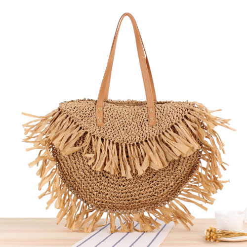 New Semi-Circle Fringed One-Shoulder Straw Woven Bag Sui Sui Paper Woven Bag Beach Bag Fashion Female Bag