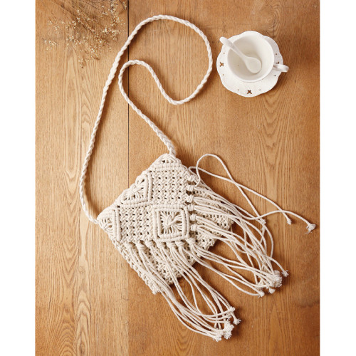 Simple Tassel Messenger Straw Woven Bag Korean Retro One-Shoulder Cotton Woven Bag Summer Beach Bag