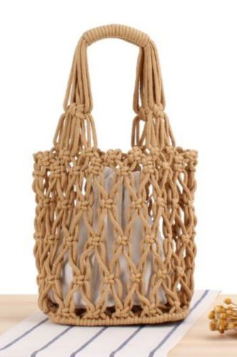 Retro Fashion Hollow Thick Cotton Woven Bag Portable Net Bag Leisure Female Bag Beach Bag Bucket Bag
