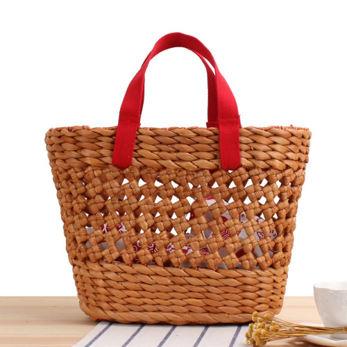 Corn Husk Hand-Woven Bag Solid Color Hollow Portable Vegetable Basket Straw Bag