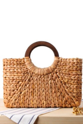 Wooden Handle Carrying Straw Woven Bag, Corn Husk, Hand-Woven Beach Bag, Mori Series Solid Color Large-Capacity Female Bag