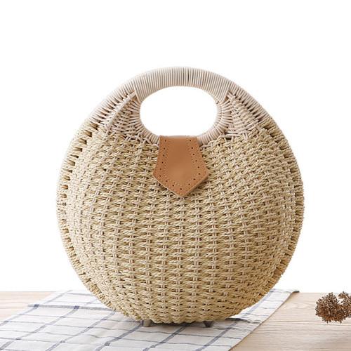 New Fashion Shell Handbag Personality Cute Rattan Bag Straw Bag Woven Female Bag Leisure Bag