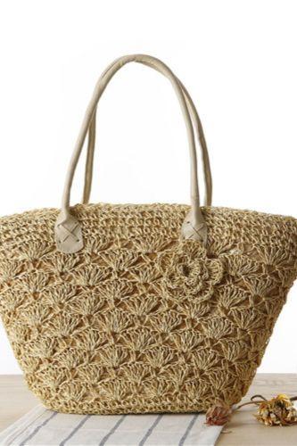 New One-Shoulder Straw Woven Bag Fashion Gold Thread Shell Crocheted Hand-Woven Bag Seaside Beach Bag