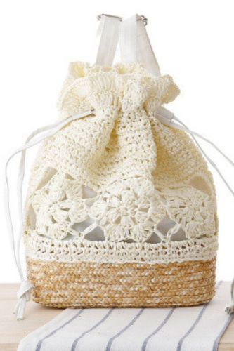 College Style Handmade Crocheted Backpack, Straw Woven Bag, Woven Bag, Leisure Female Bag