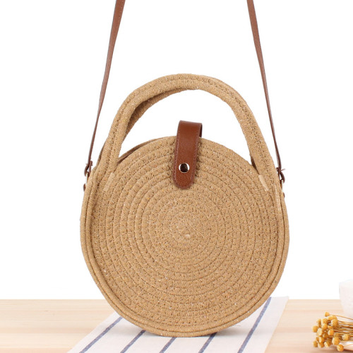 New Round Cotton Rope One-Shoulder Woven Bag, Beach Bag, Sen System Straw Woven Bag, Small Round Cake Messenger Bag