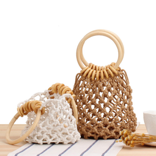 New Solid Color Net Bag, Hand-Woven Bag, Hand-Tied Cotton Thread, Hand-Carried Seaside Vacation Beach Bag