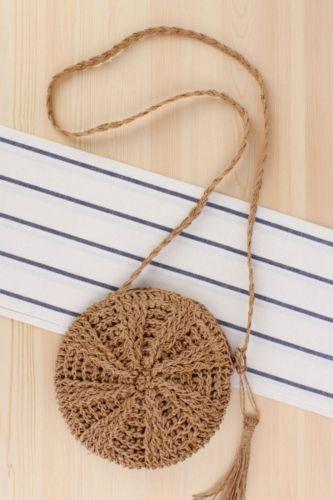 New Product Simple Round Tassel Female Messenger Straw Woven Bag Handmade One-Shoulder Woven Bag Summer Beach Bag