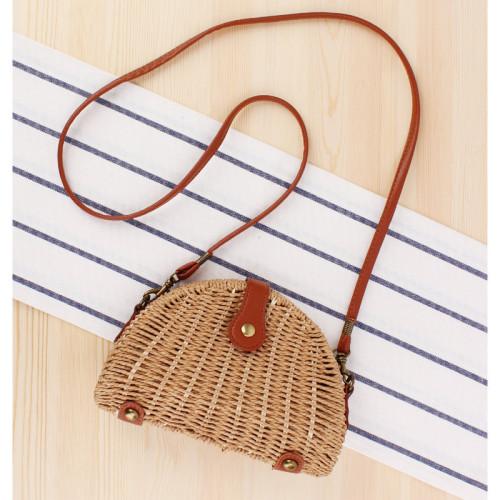New Small Fresh Messenger Woven Bag Beach Bag Sen Semi-Circular Straw Woven Bag Vacation Photo Female Bag