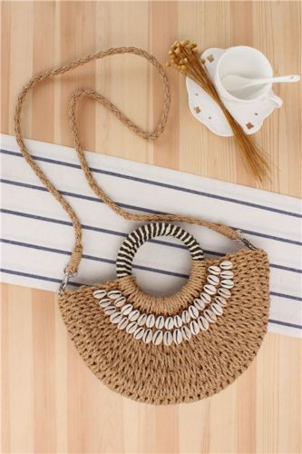 Simple Style Semicircle Hand-Carried Straw Woven Bag, Hand-Sewn Natural Shell Holiday Woven Bag, Holiday Female Bag