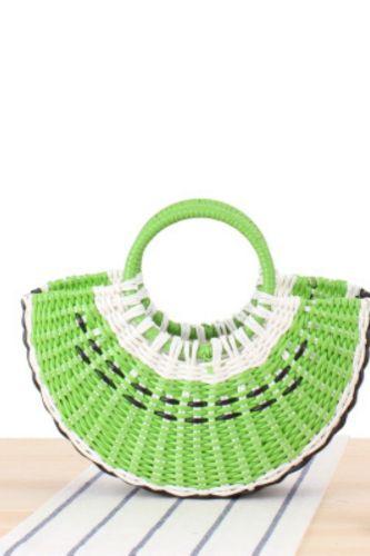 Colorful Fruit Hand Bag Ins Cute Semicircle Handmade PVC Woven Bag Beach Straw Bag