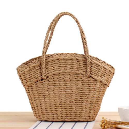 New Mori Series Ins One-Shoulder Straw Woven Bag Simple Hand-Carried Woven Bag Beach Vacation Leisure Female Bag
