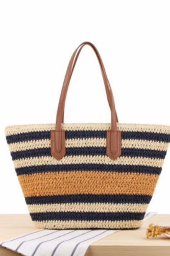 New Style Striped One-Shoulder Straw Bag Korean Version Ins Sen Holiday Hand-Woven Beach Leisure Bag