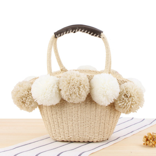 Super Cute Hand-Carried Woven Beach Bag, Cute Contrast Color Big Wool Ball Straw Bag, Small Fresh Leisure Bag