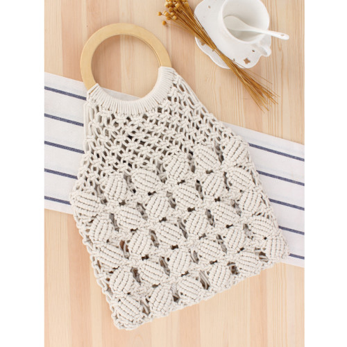 New Pure Color Hand-Made Woven Bag On Behalf Of The Tide Female Forest Straw Woven Bag Handmade Cotton Rope Beach Leisure Bag
