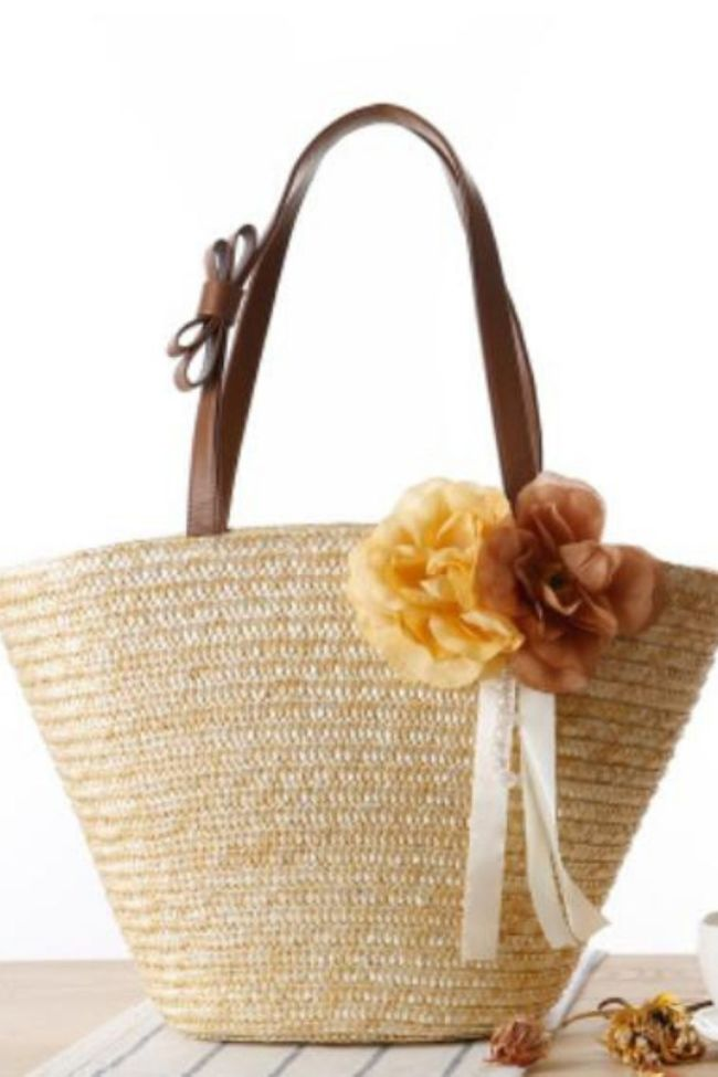 New Pastoral Two-Flower-Straw Woven Bag, Solid Color, One-Shoulder Hand-Woven Bag, Beach Bag, Female Bag