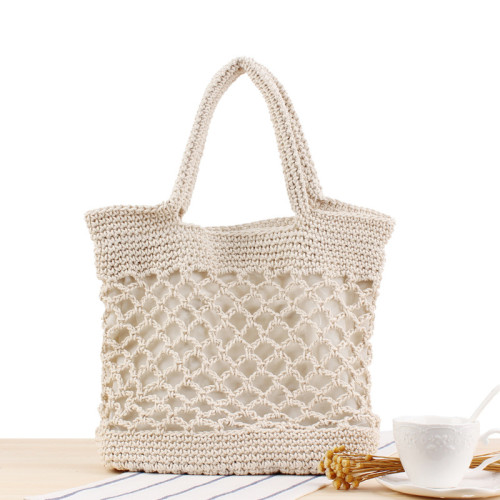 Ins New Solid Color Cotton Hand Crocheted Bag Tide Female Forest Portable Holiday Beach Straw Bag