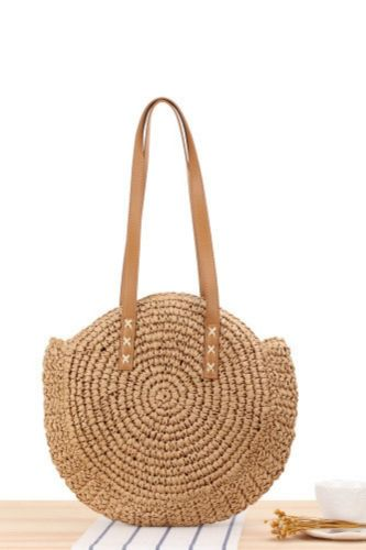 New Simple Round One-Shoulder Straw Bag Woven Bag Beach Bag Fashion Female Bag Straw Bag