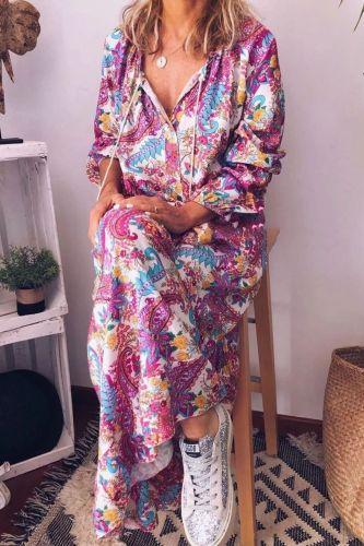 Long Print Vintage Mid-Waist Pullover V-Neck Print Vintage Long Dress