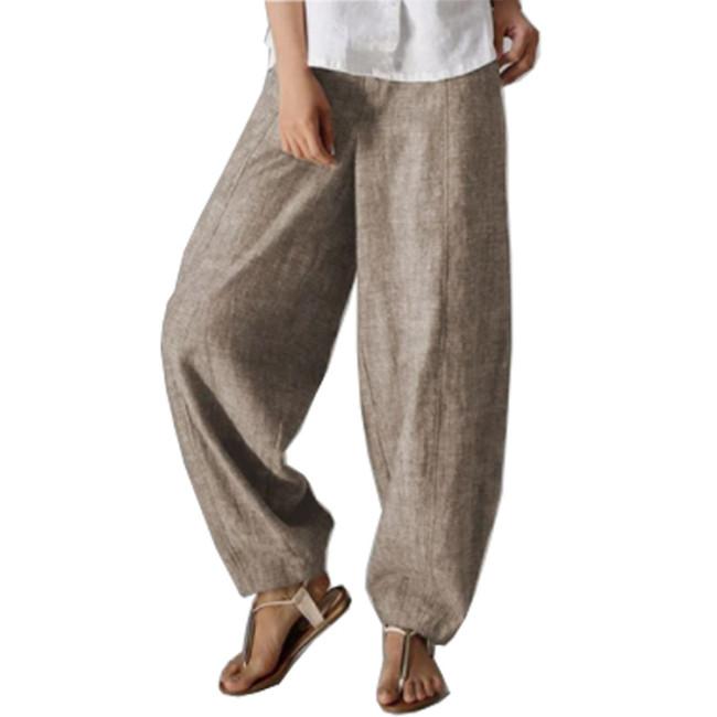 Pockets Natural Casual Plain Linen Pants