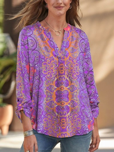 Cotton-Blend Casual V Neck Plain Shirts & Tops