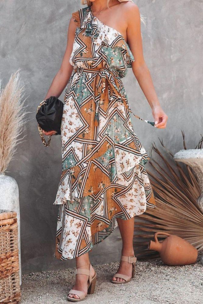 2021 New High-end Plus Size Indie Folk Chiffon Long Dress One Off Shoulder Women High Waist Asymmetrical Maxi Dress