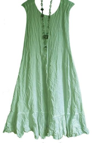 2021 Summer Amazon Retro Loose Cotton And Linen Women'S Solid Color Mid-Length Sleeveless Ruffle Dress Women
