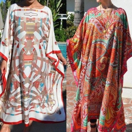 Women Dresses 2021 Elegant Floral Print Summer Boho Dress Women's Clothing Vintage Casual Beach Vacation Long Dress Vestido