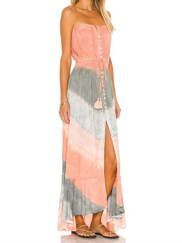 Printed Ruffle large swing leisure fashion comfortable mid waist 2021 summer fashion bra lace mid length dress