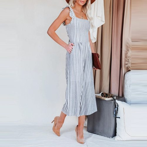 Folds Striped Slim Jumpsuit 2021 Summer Fashion Sexy Petal Edge Sling Backless Rompers Women's Pocket Casual Straight-Leg Pants