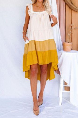Women Summer Ruffle Collar A- Line Irregular Large Swing Pocket Fashion Elegant Midi Dress