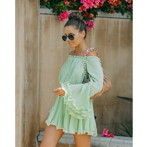 Solid Color Off-Shoulder Jumpsuit  Ruffled Flounce Summer New Women's Clothing