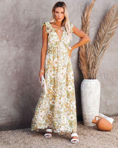 Floral Print Long Dress Summer New Sleeveless Lotus Leaf Shoulder Belt Fashion Backless Lace Up Long Dresses
