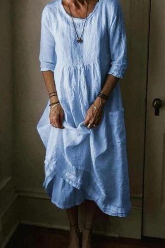 Plus size dresses for women 4xl 5xl  Women o-neck 3/4 sleeve A-line midi dress linen blue black white beige clothes