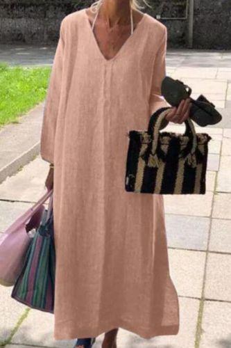 Plus Size Women V Neck Long Sleeve Midi Dress  Autumn Sundress Elegant Solid Cotton Linen Vestidos Kaftan Robe Femme Dress