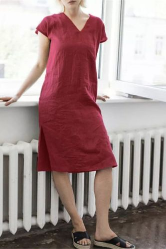 2021 New V-Neck Solid Color Cotton And Linen Midi Dress