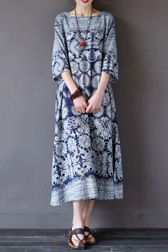 Women Short Sleeve Summer T-Shirt Dress Blue Floral Print Sundress Plus Size XRQ88