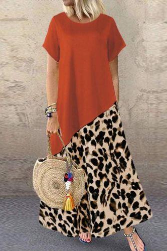 2021 Summer Leopard Maxi Dress Fashion Women's Printed Sundress Short Sleeve Patchwork Vestidos Plus Size Casual Robe 5XL