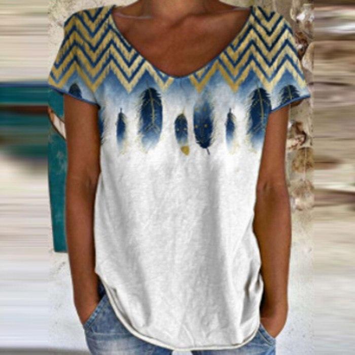 Elegant Pattern Print Blouse Shirts For Women Vintage Loose Short Sleeve Pullover Top 2021 Summer O Neck Casual Streetwear Blusa