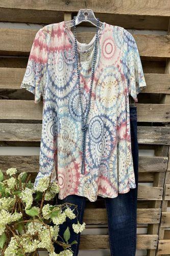 Ins 2021 Ladies T-Shirt Loose Short-Sleeved Color Printing Print Top