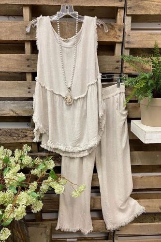 Summer Two Piece Set Ladies Fashion Casual Outfit Suit Women Sleeveless Tops Frayed Cotton Linen Vest + Wide Leg Pants Mujer Set
