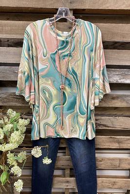 2021 Ladies Top Bat Sleeve Round Neck Watercolor Print T-Shirt